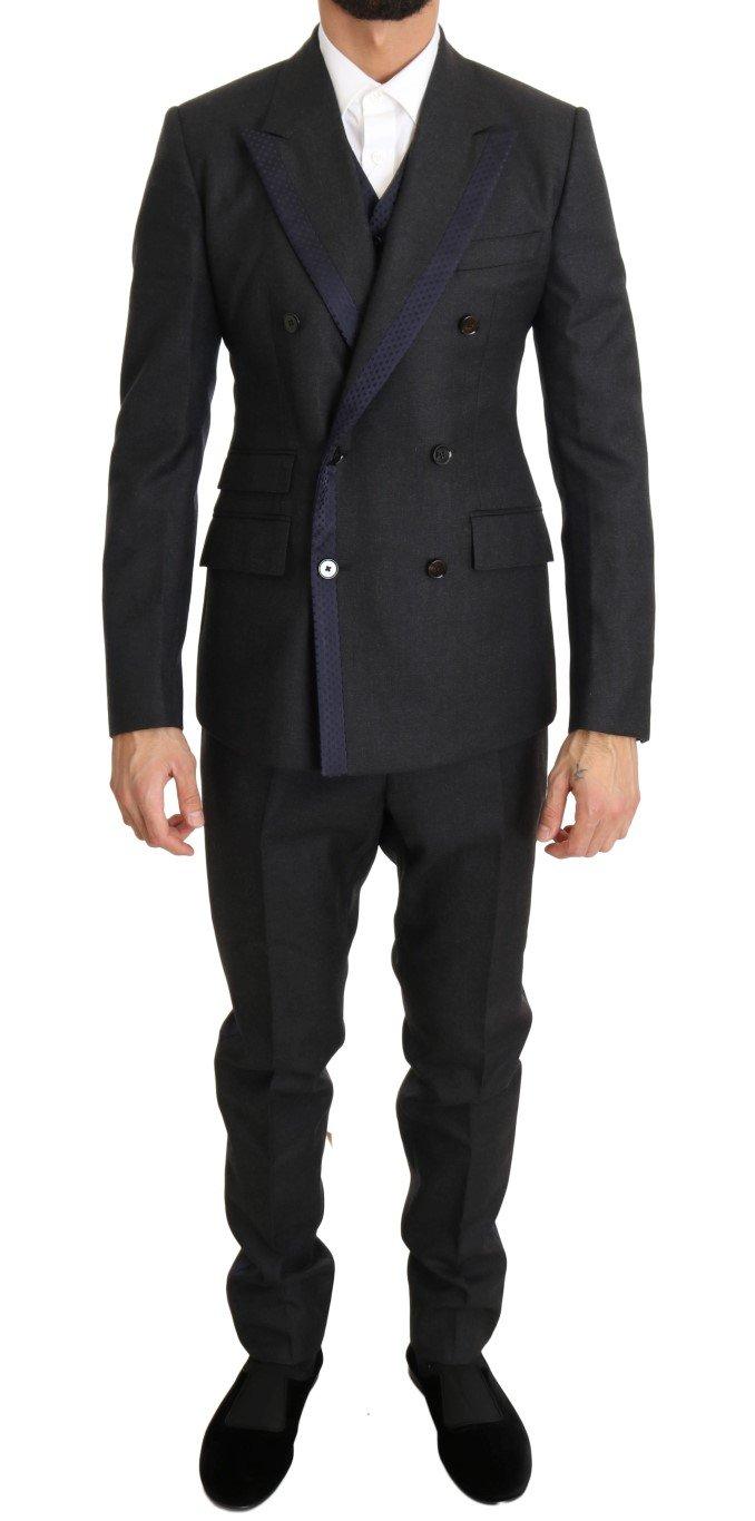 Dolce & Gabbana Men's Silk Double Breasted Suit Gray KOS1100 - IT44   XS