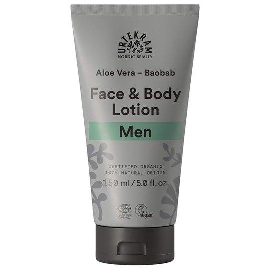 Urtekram Nordic Beauty Men Face & Body Lotion - Aloe Vera & Baobab, 150 ml