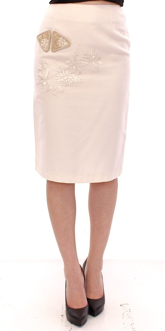 Andrea Incontri Women's Cotton Floral Embroidery Skirt White GSS10716 - IT40|S