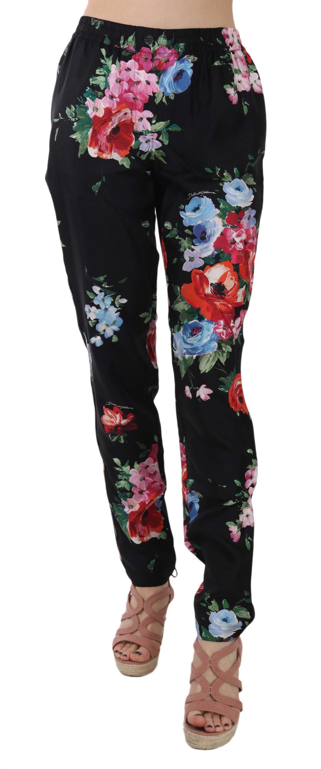 Dolce & Gabbana Women's Floral Print Silk Pyjama Style Trouser Black PAN70022 - IT38|XS