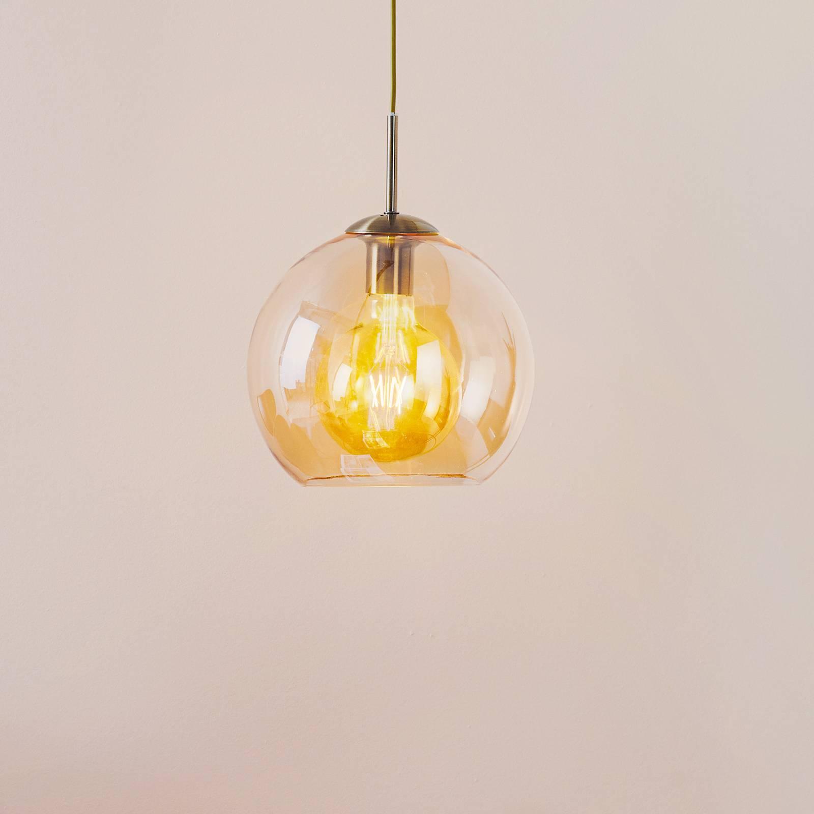 Balls-riippuvalaisin, meripihka, lasivarj. 25 cm