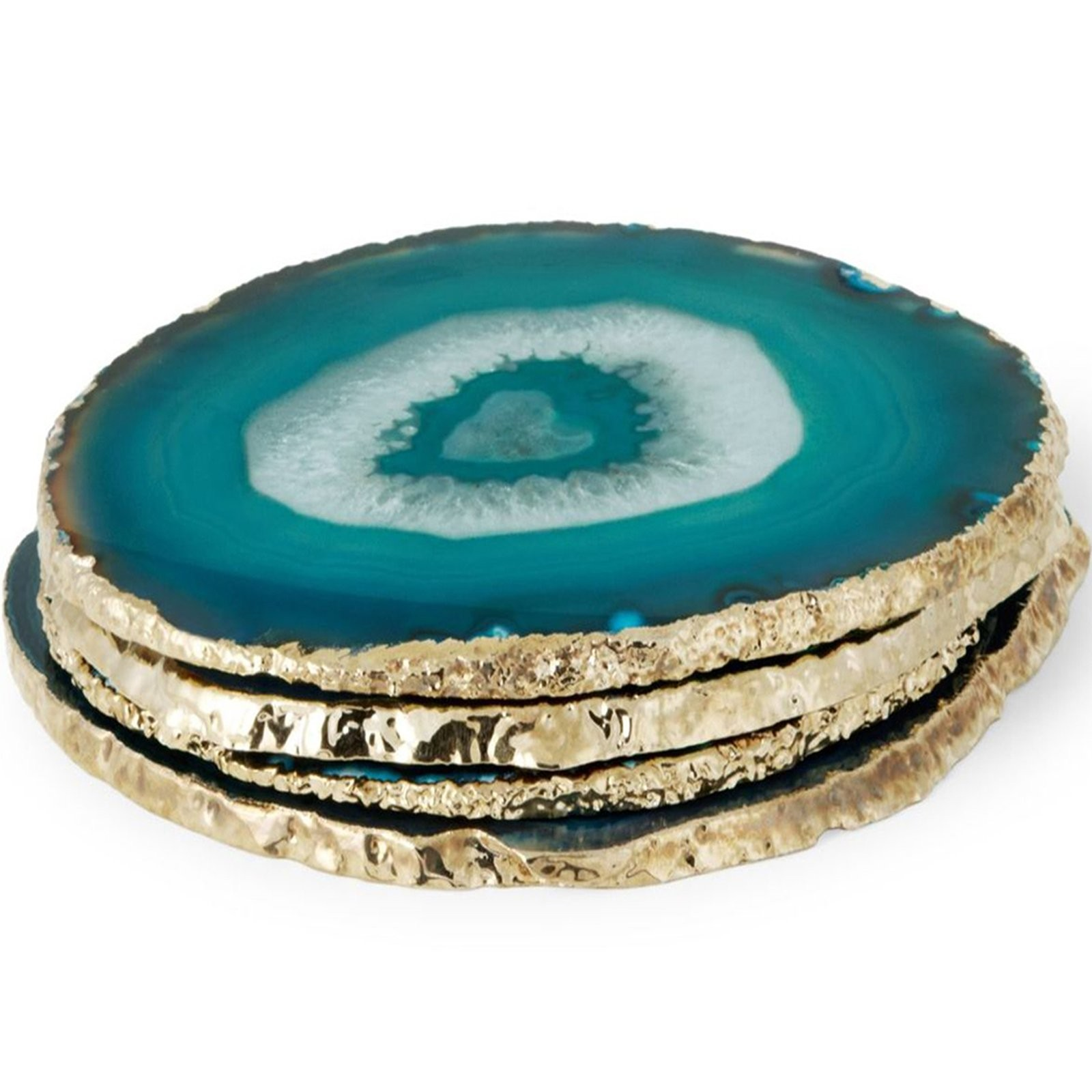 Aerin I Set Of 4 Teal Agate Coasters