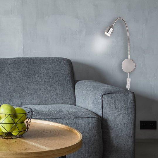 LED-vegglampe Lovi, matt nikkel