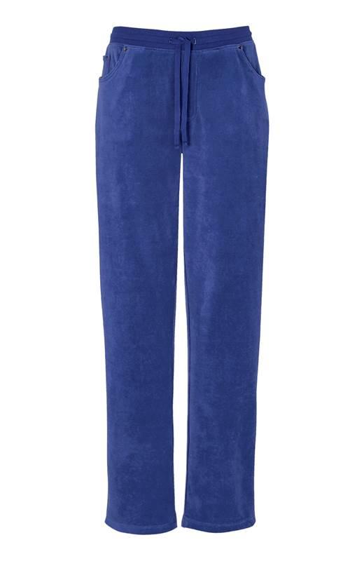 Cellbes Velourbyxa med raka ben Jeansblå