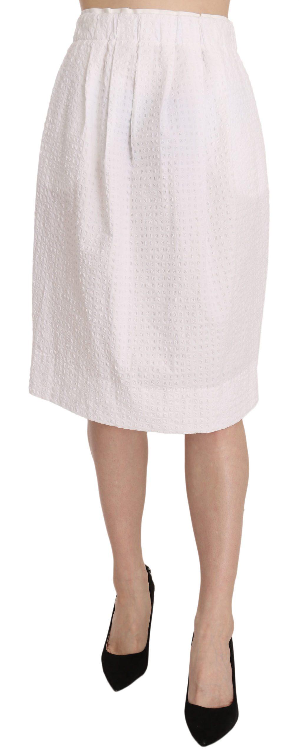 White Jacquard Plain Weave Stretch Midi Skirt - IT40 S