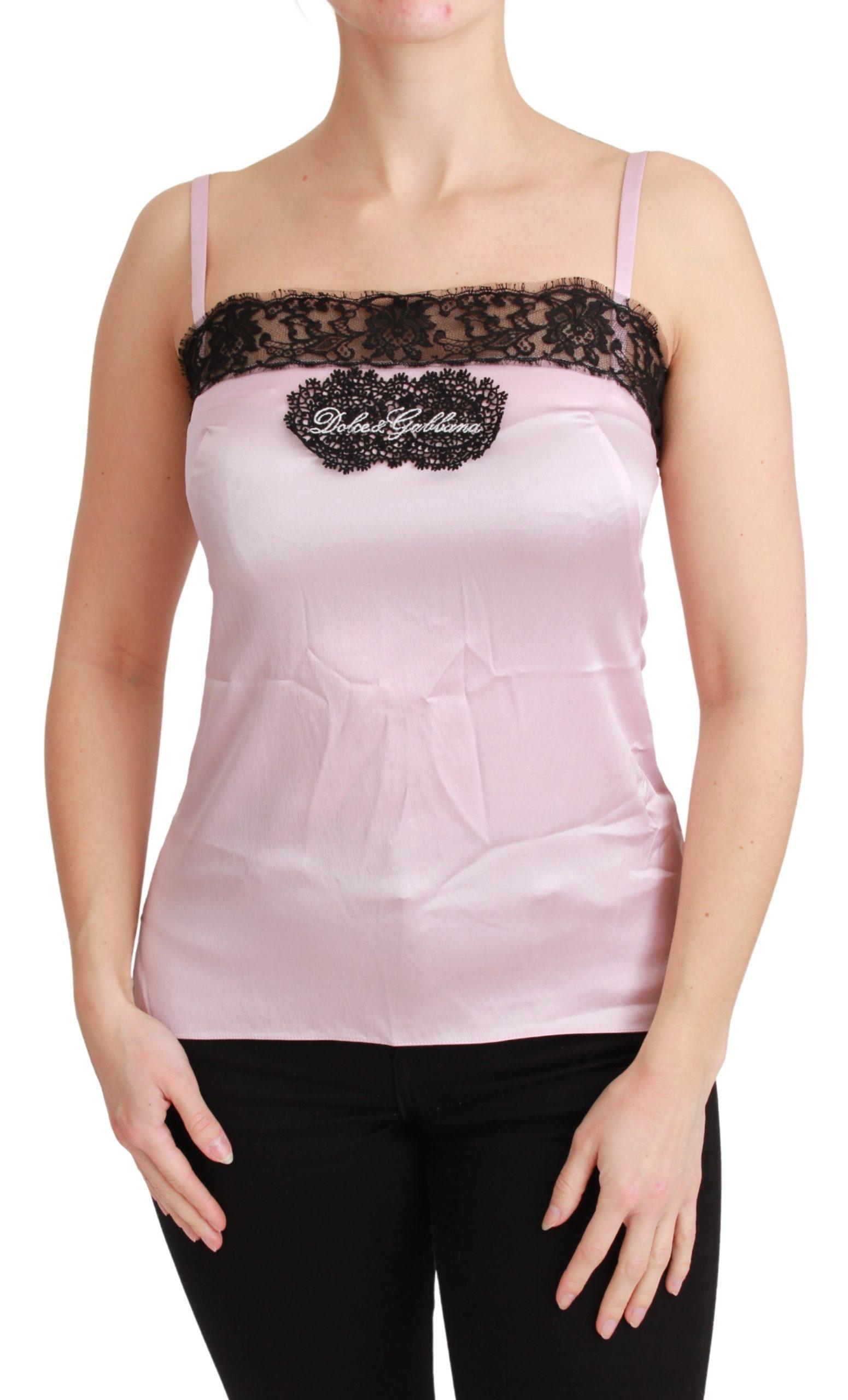 Dolce & Gabbana Women's Silk Lace Top Silver TSH4591 - IT38|XS