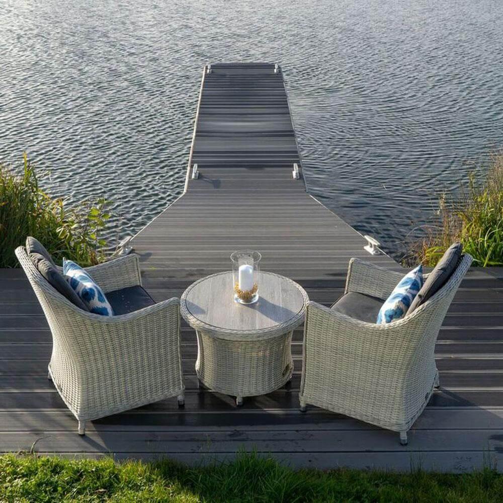 2021 Bramblecrest Monterey Garden Bistro Set With Ceramic Adjustable Table - Dove Grey