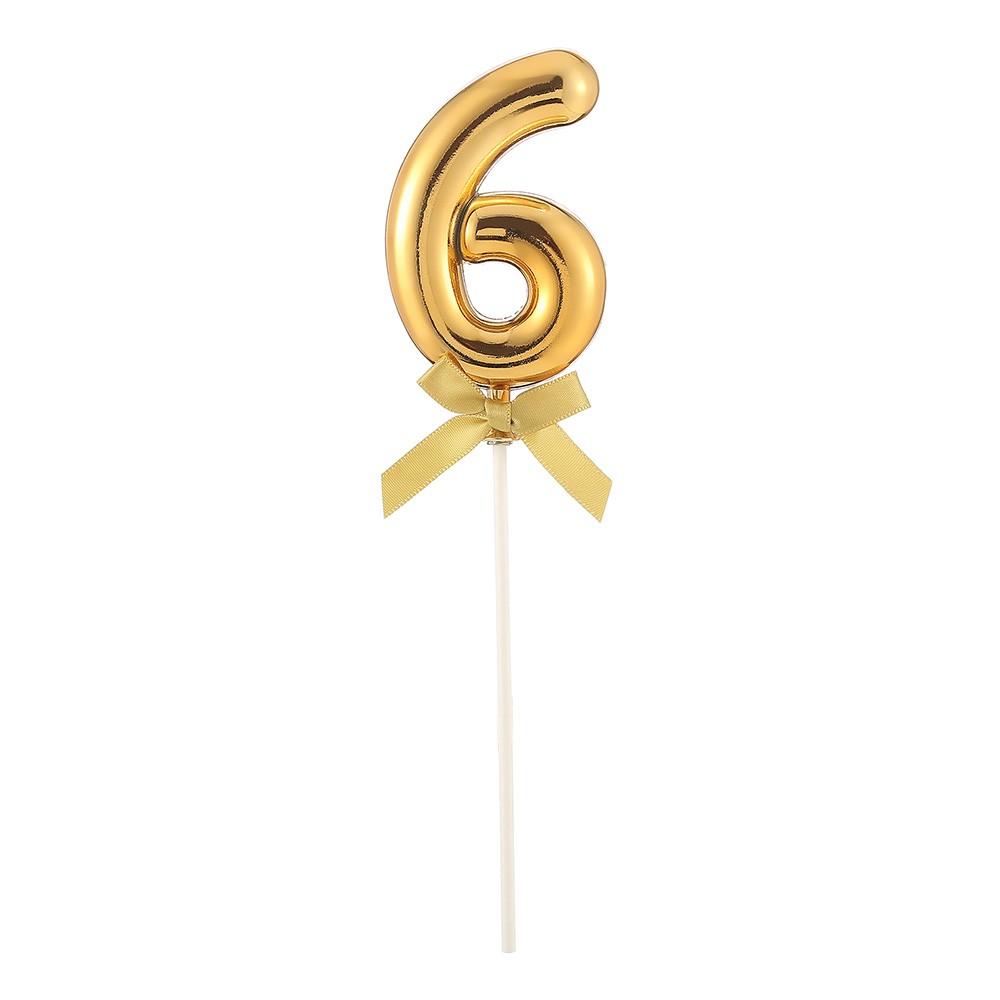 Tårtdekoration Siffra Guld med Rosett - Siffra 6