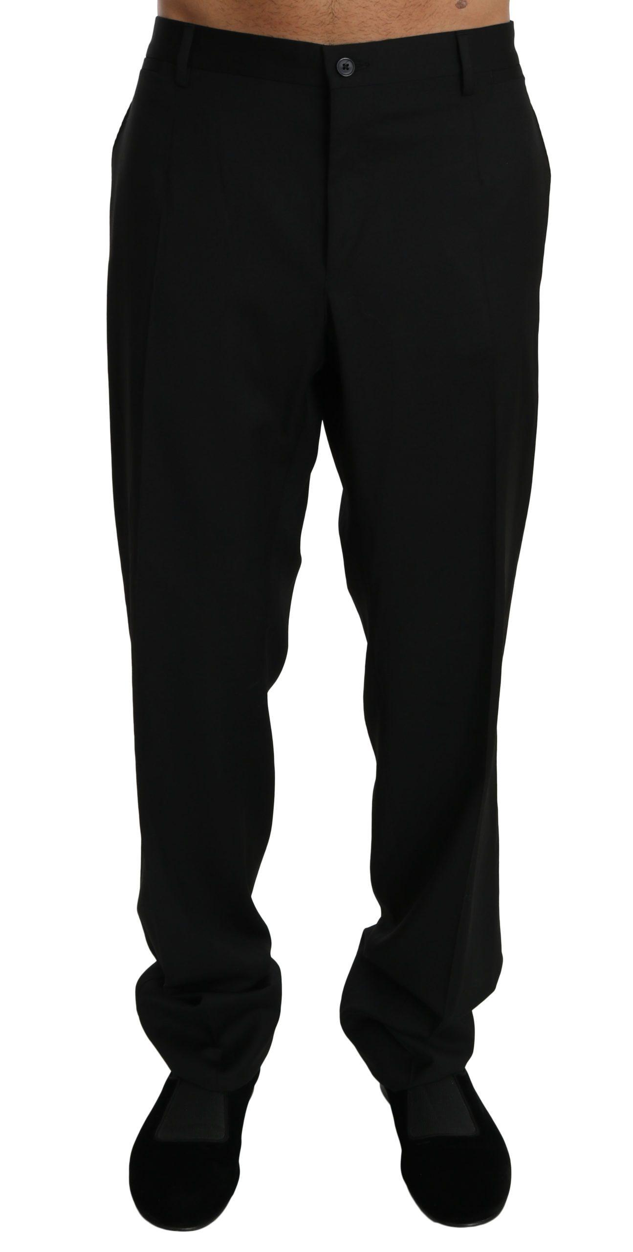 Dolce & Gabbana Men's Slim Formal Wool Trouser Black PAN70755 - IT58 | XXL