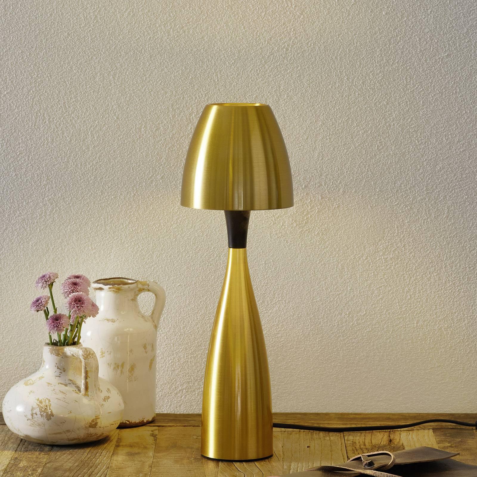 Messingfarget LED-bordlampe Anemon 38,9 cm