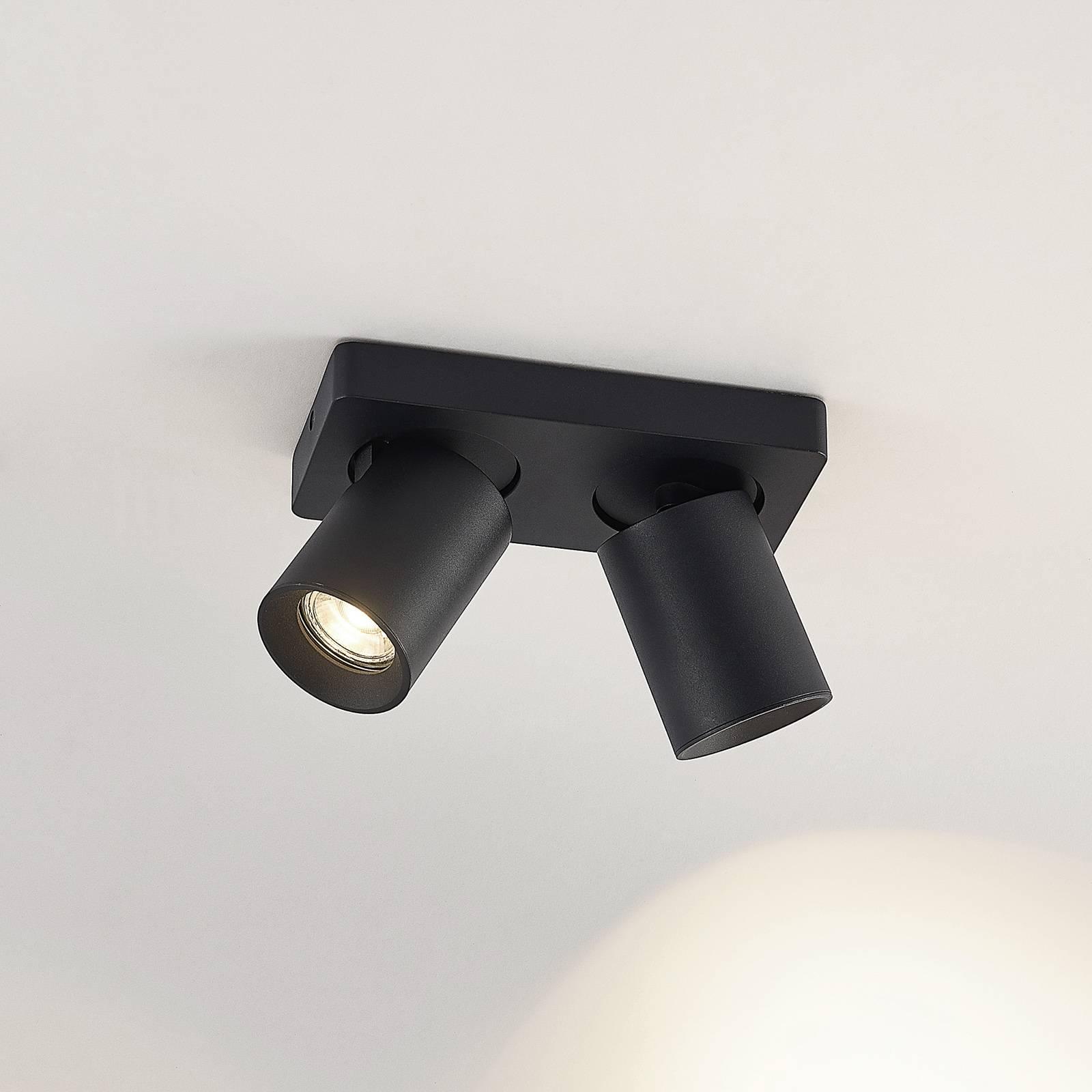 Arcchio Leevya -kattovalaisin 2-lamppuinen musta