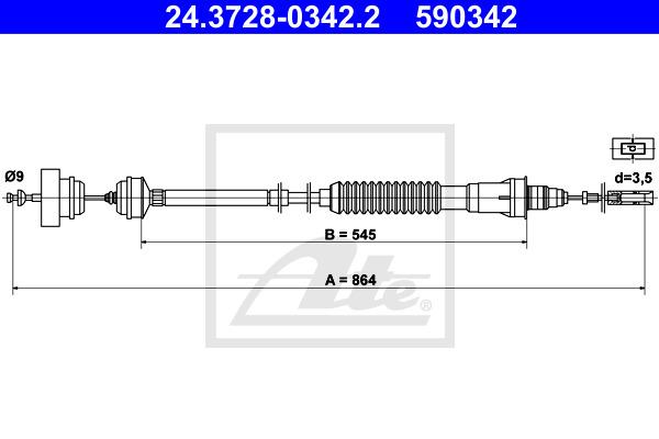 Kytkinvaijeri ATE 24.3728-0342.2