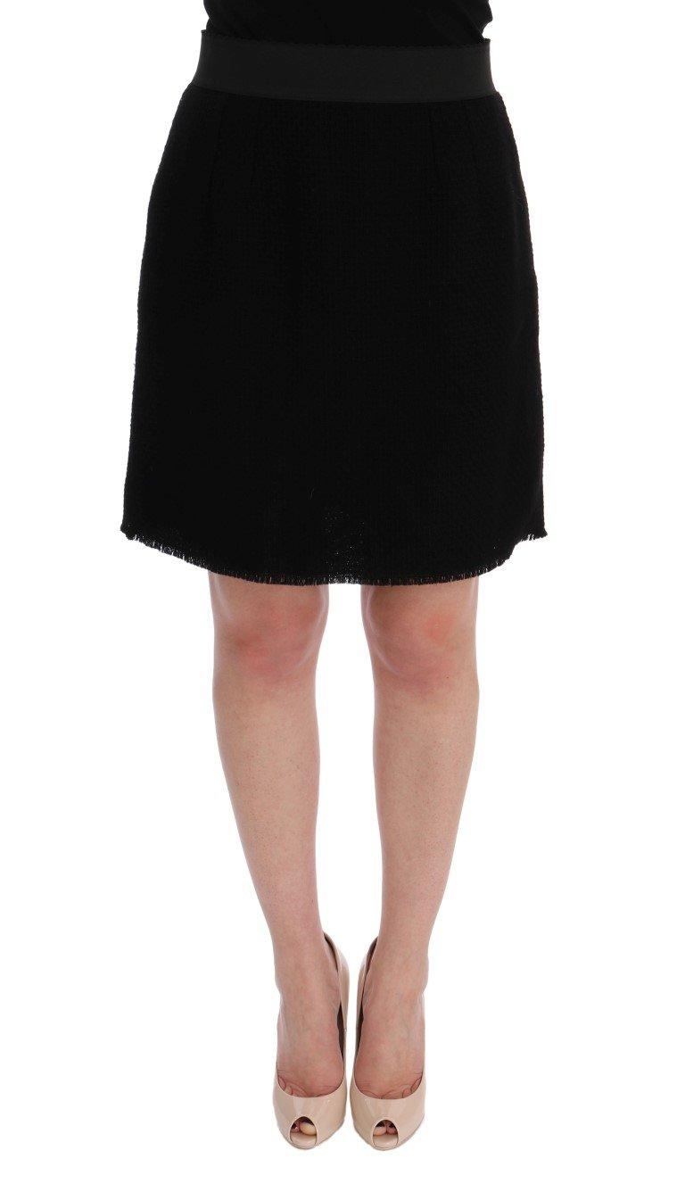 Dolce & Gabbana Women's Wool Above Knees Skirt Black SIG60141 - IT46|XL