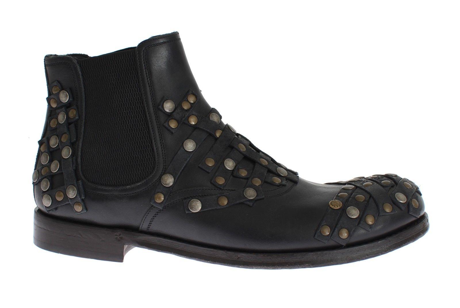 Dolce & Gabbana Men's Leather Studded Boots Black MOM25588 - EU40/US7
