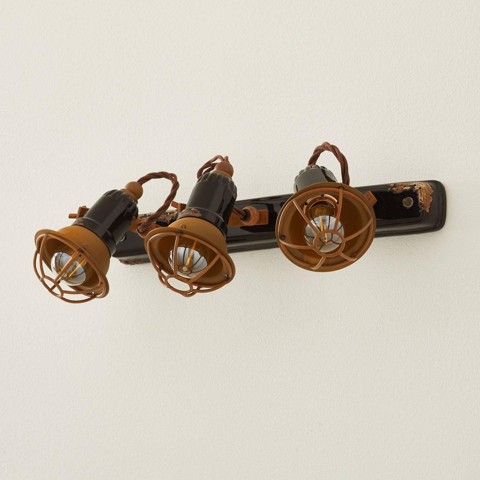 Vegglampe C1677/1 med kurv, 3 lyskilder, svart