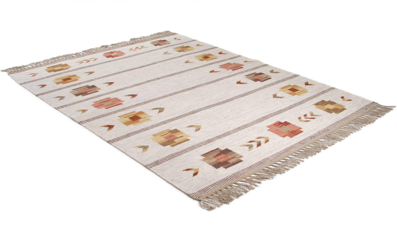 Mårbacka beige - Håndvevd ullteppe