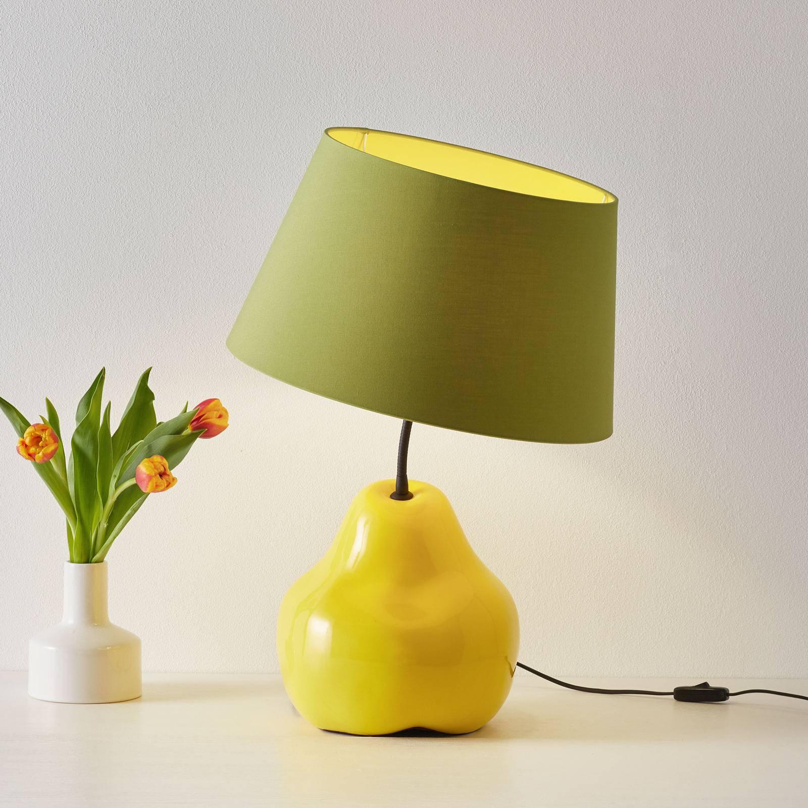 Tekstilbordlampe L188 GLL, keramisk fot, pære