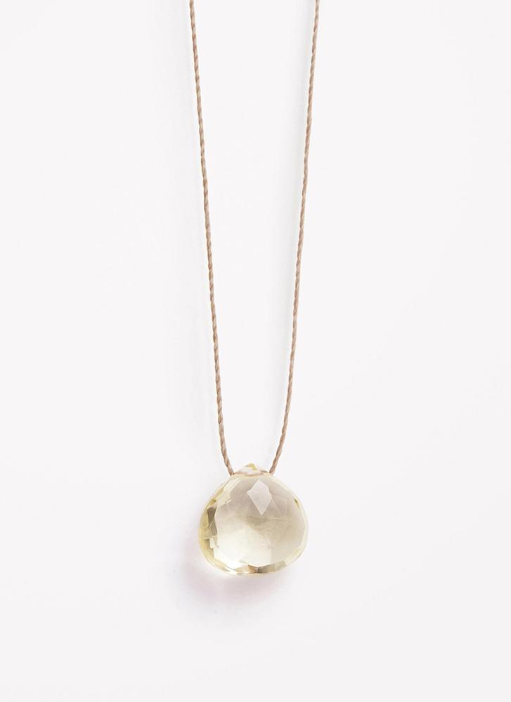 Wanderlust Life Lemon Quartz Solar Plexus Chakra Fine Cord Necklace