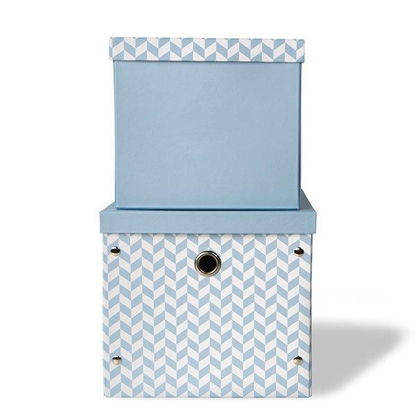 Vinter & Bloom - Storage Boxes Herringbone - Blue