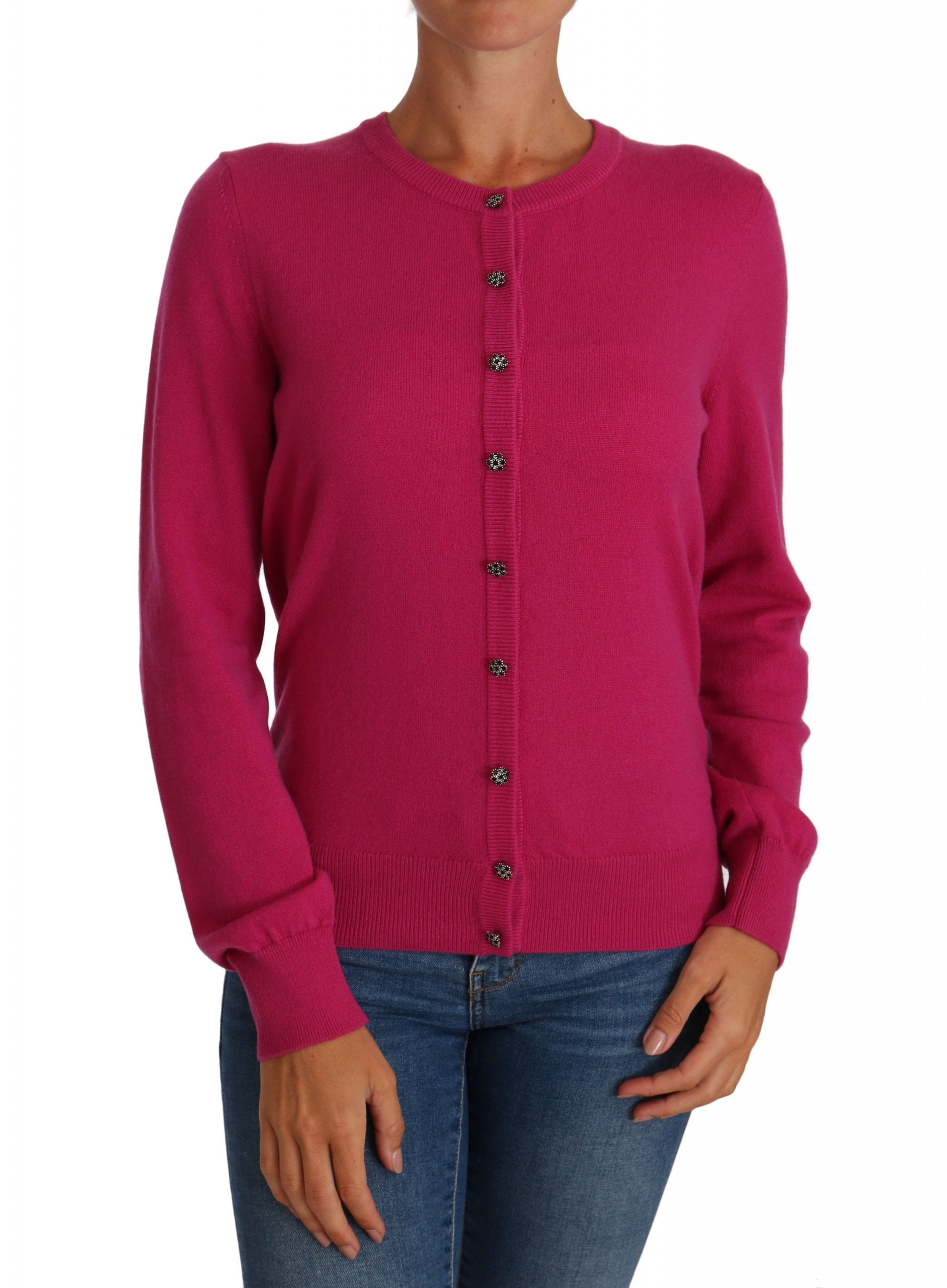 Dolce & Gabbana Women's Cashmere Pink Crystal Button Cardigan Pink PAN60962 - IT44|L