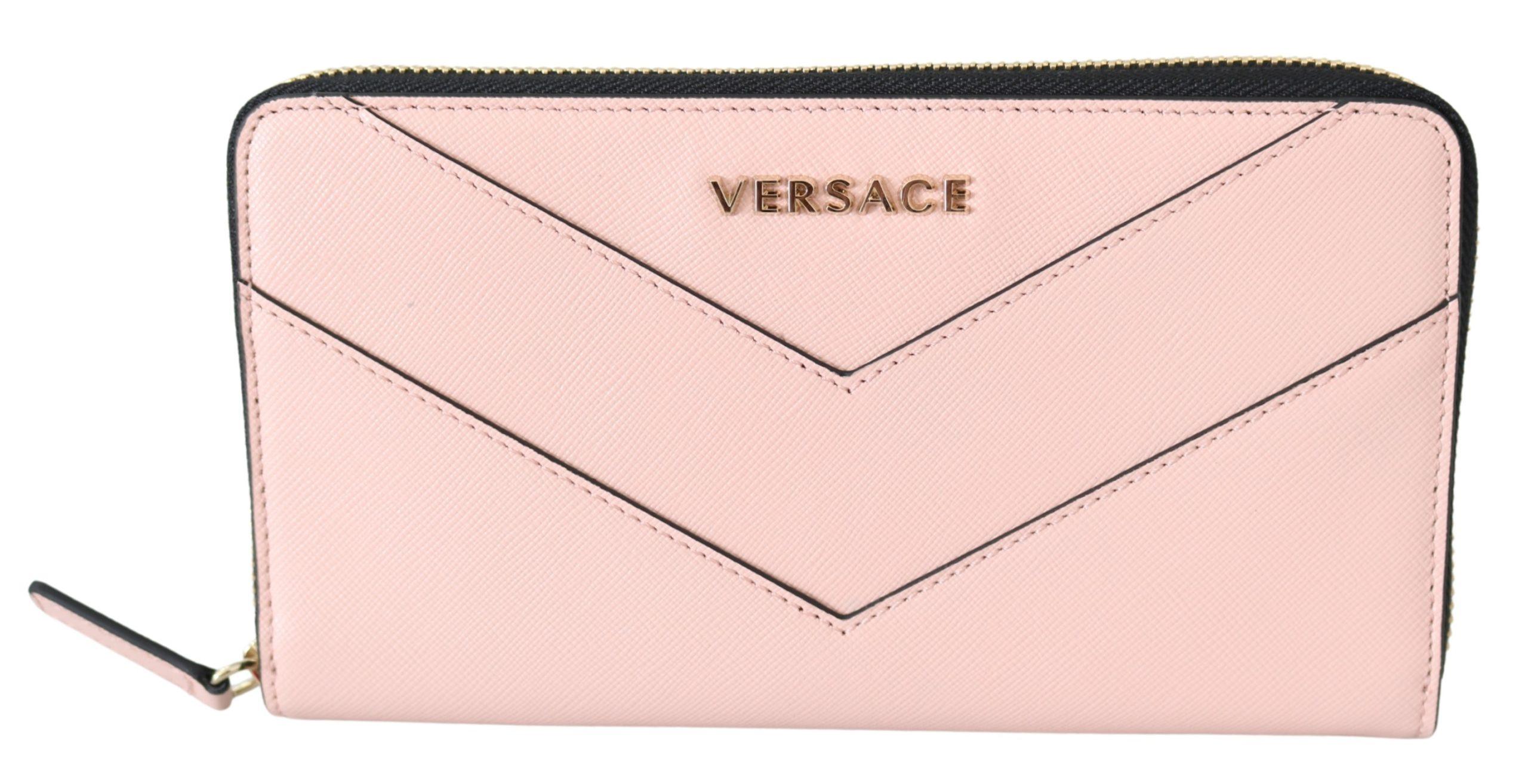 Versace Women's Zip Around Leather Wallet Pink 8053850421268