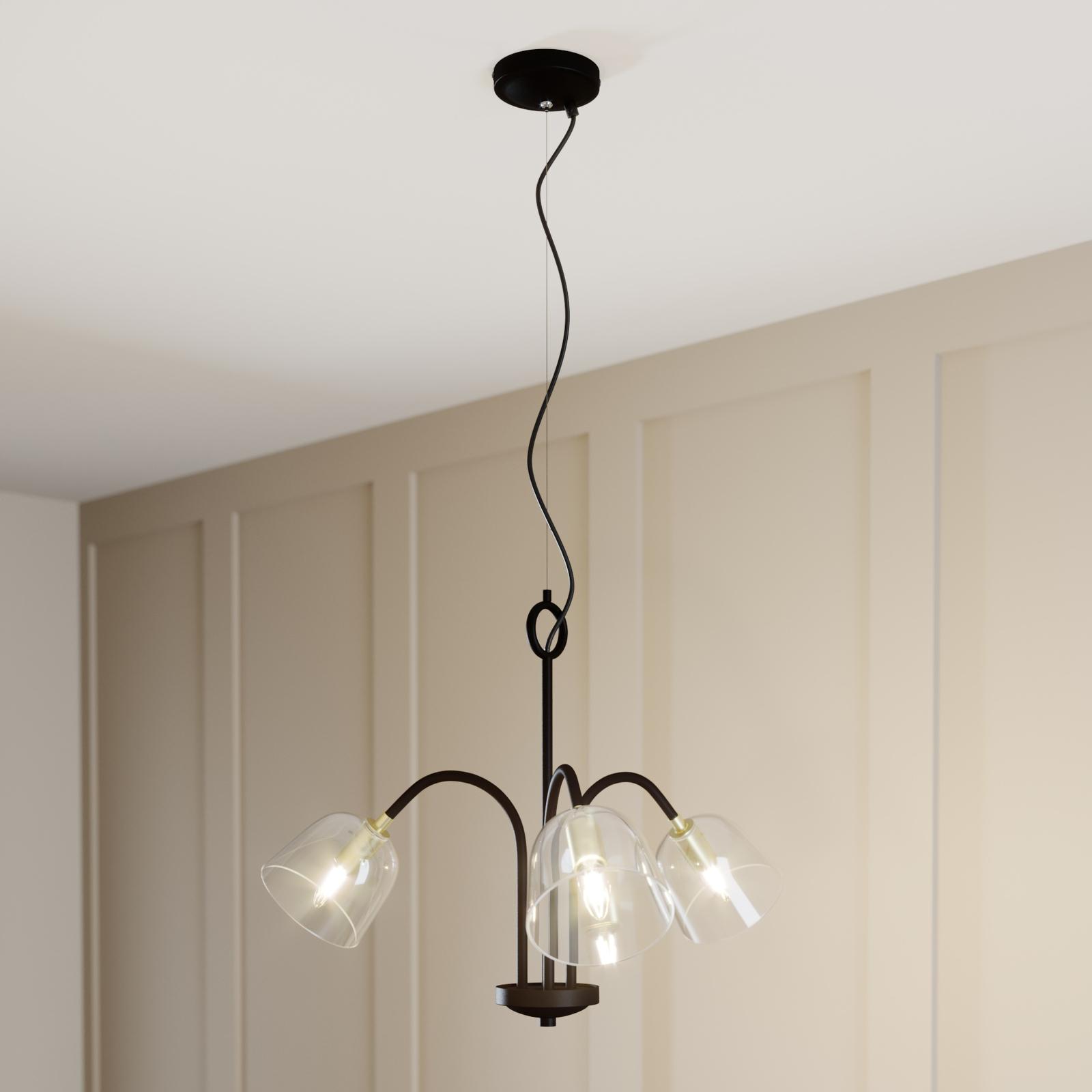 Lucande Anjita -riippuvalo, lasivarjostin, 3-lamp.