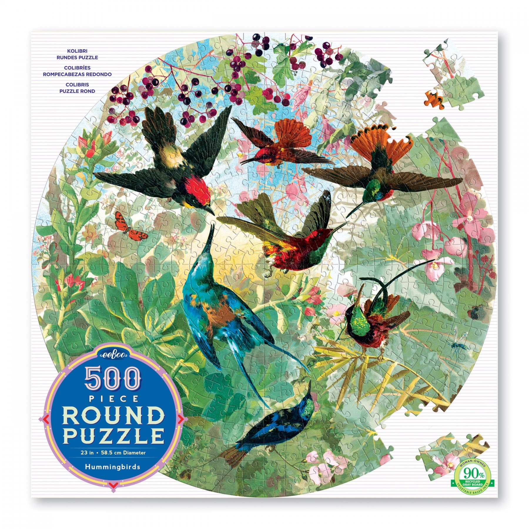 eeboo - Round Puzzle - Hummingbirds, 500 pc (EPZFHMB)