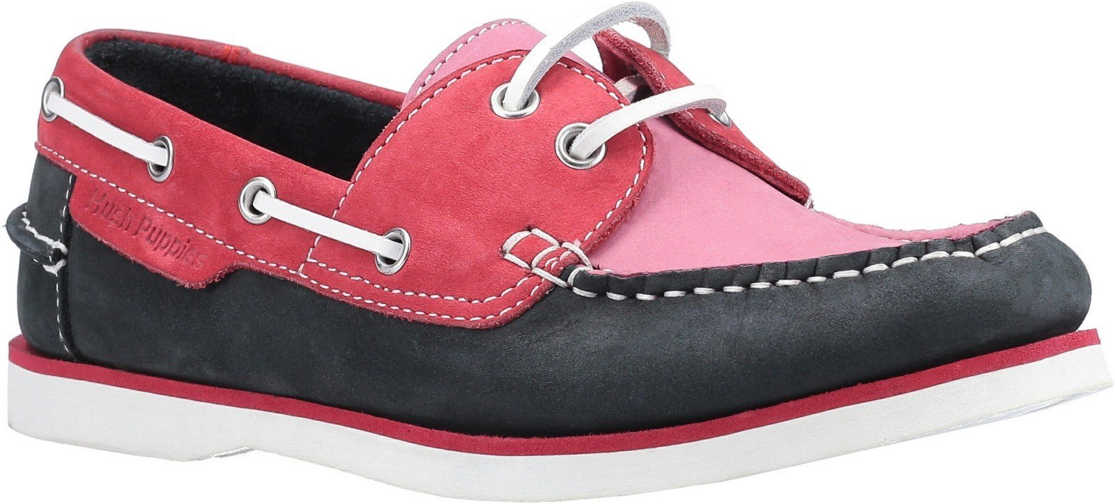 Hush Puppies Women's Hattie Lace Up Boat Shoe Various Colours 30223-51424 - Pink/Navy 3