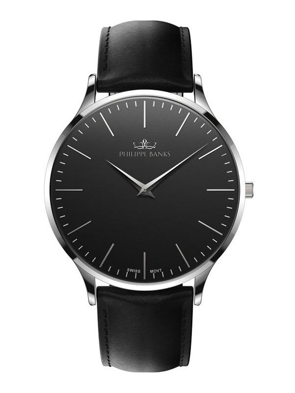Phillipe Banks Slimline 40 Silver Black Leather 401-02-L01