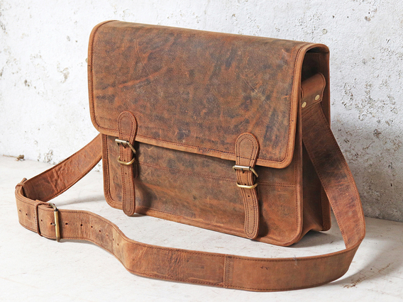 Boys And Girls Medium Vintage Leather Satchel 15 Inch Brown 15 Inch