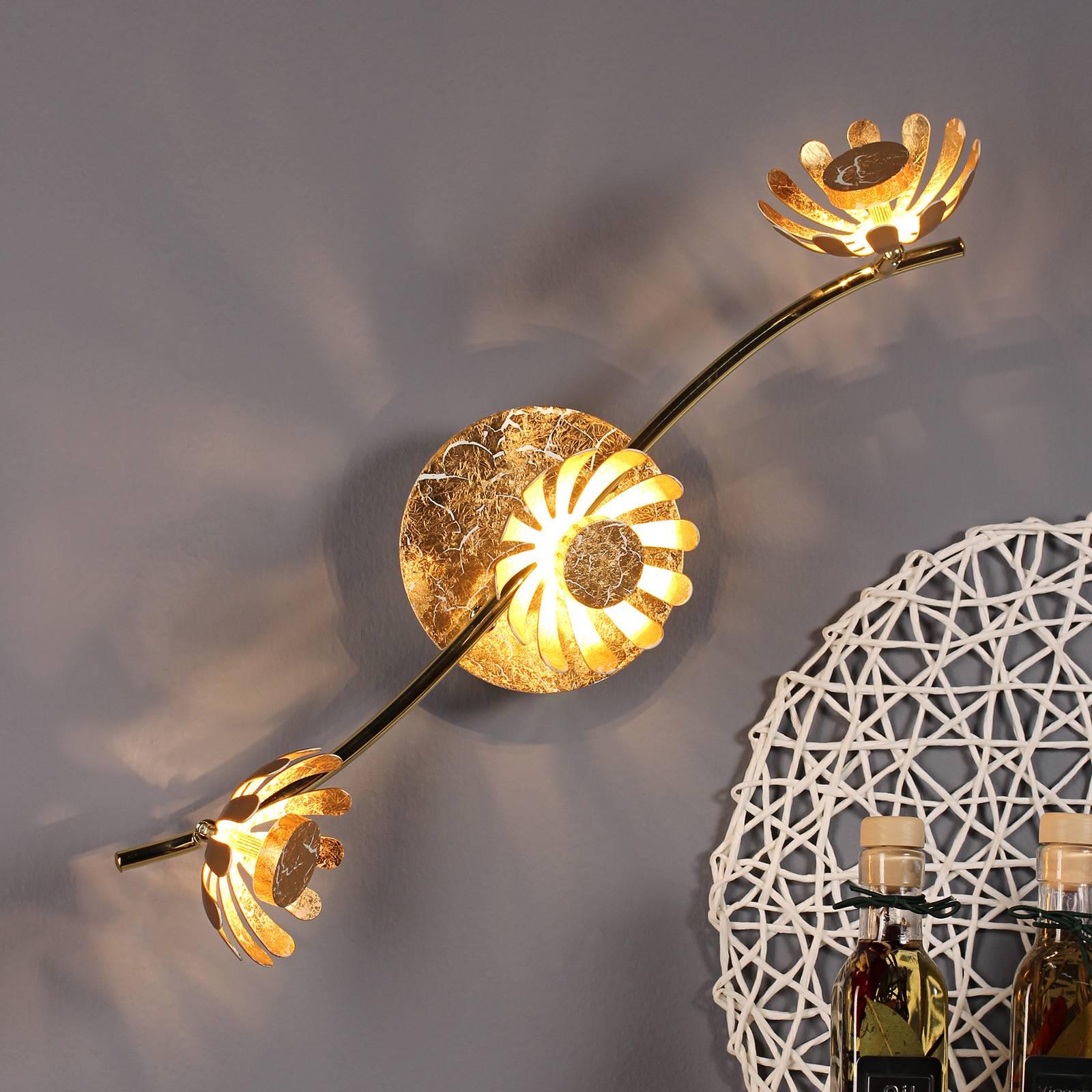 LED-seinävalaisin Bloom, 3-lamppuinen, kulta