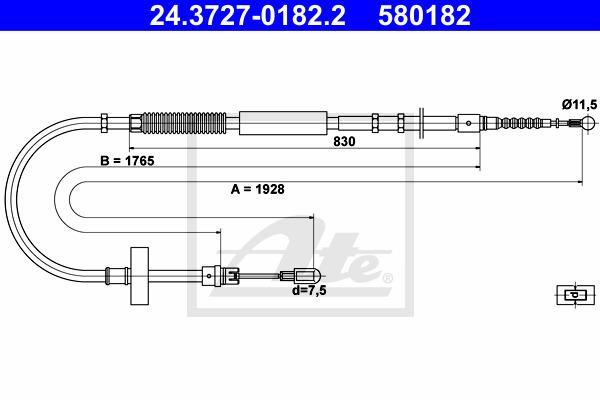Käsijarruvaijeri ATE 24.3727-0182.2
