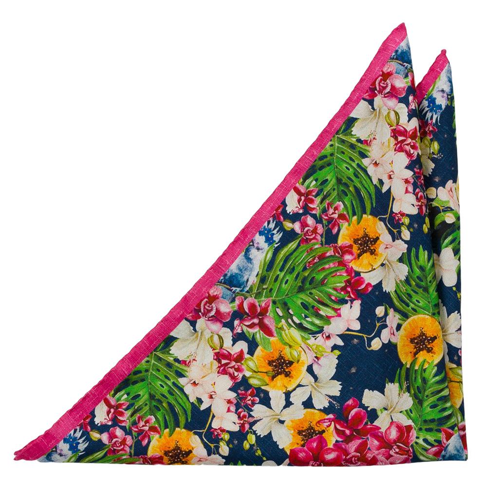 Silke Lommetørkler, Store, tropiske blomster i mange farger på beige