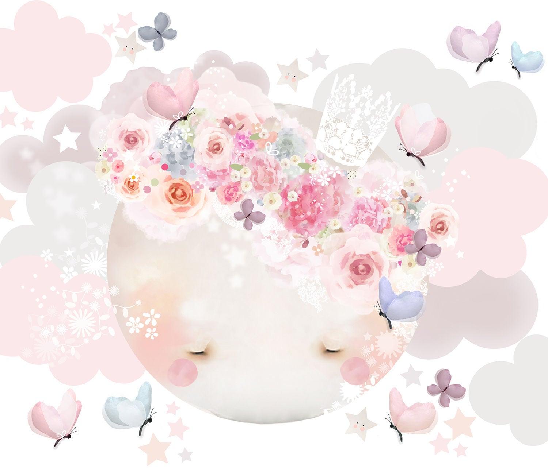 Schmooks Wallsticker Sleepy Moon, Pink
