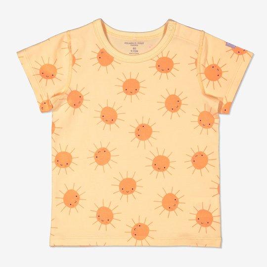 T-skjorte med soltrykk baby gul