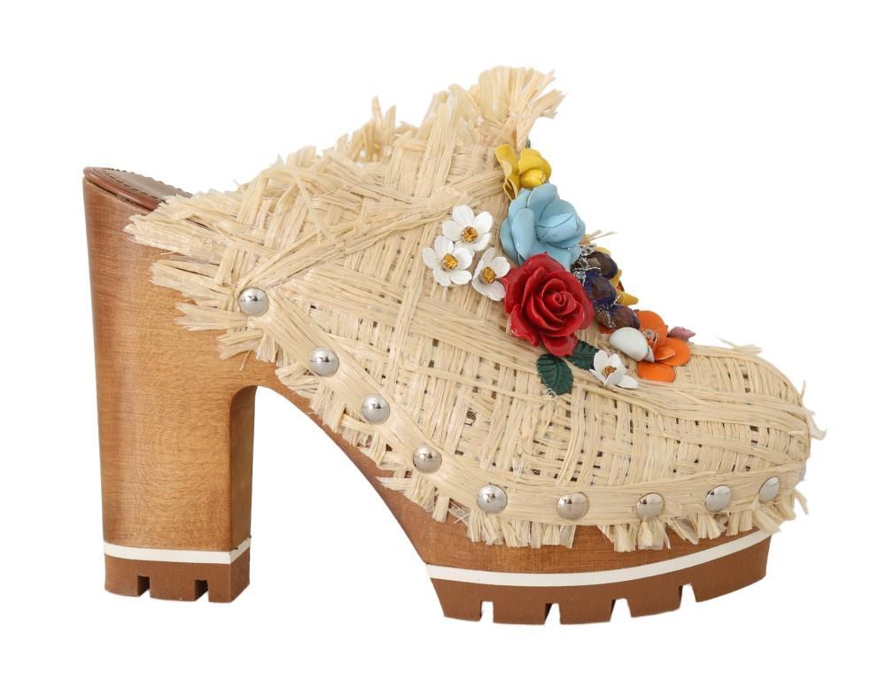 Dolce & Gabbana Women's Raffia Mules Floral Beige LA4871-1 - EU39/US8.5