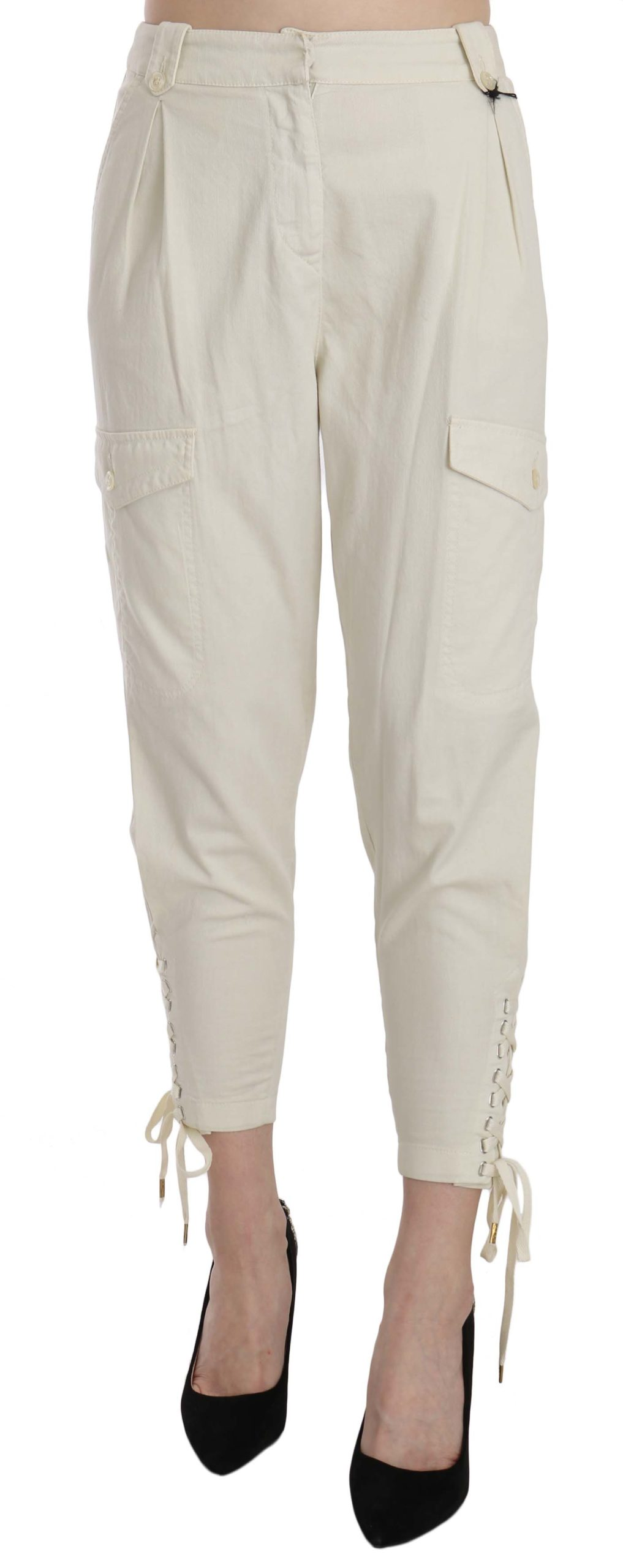 Just Cavalli Women's High Waist Tapered Cropped Trouser White PAN70345 - IT42 M