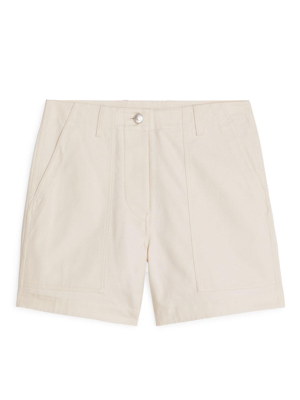 Cotton Twill Workwear Shorts - Beige