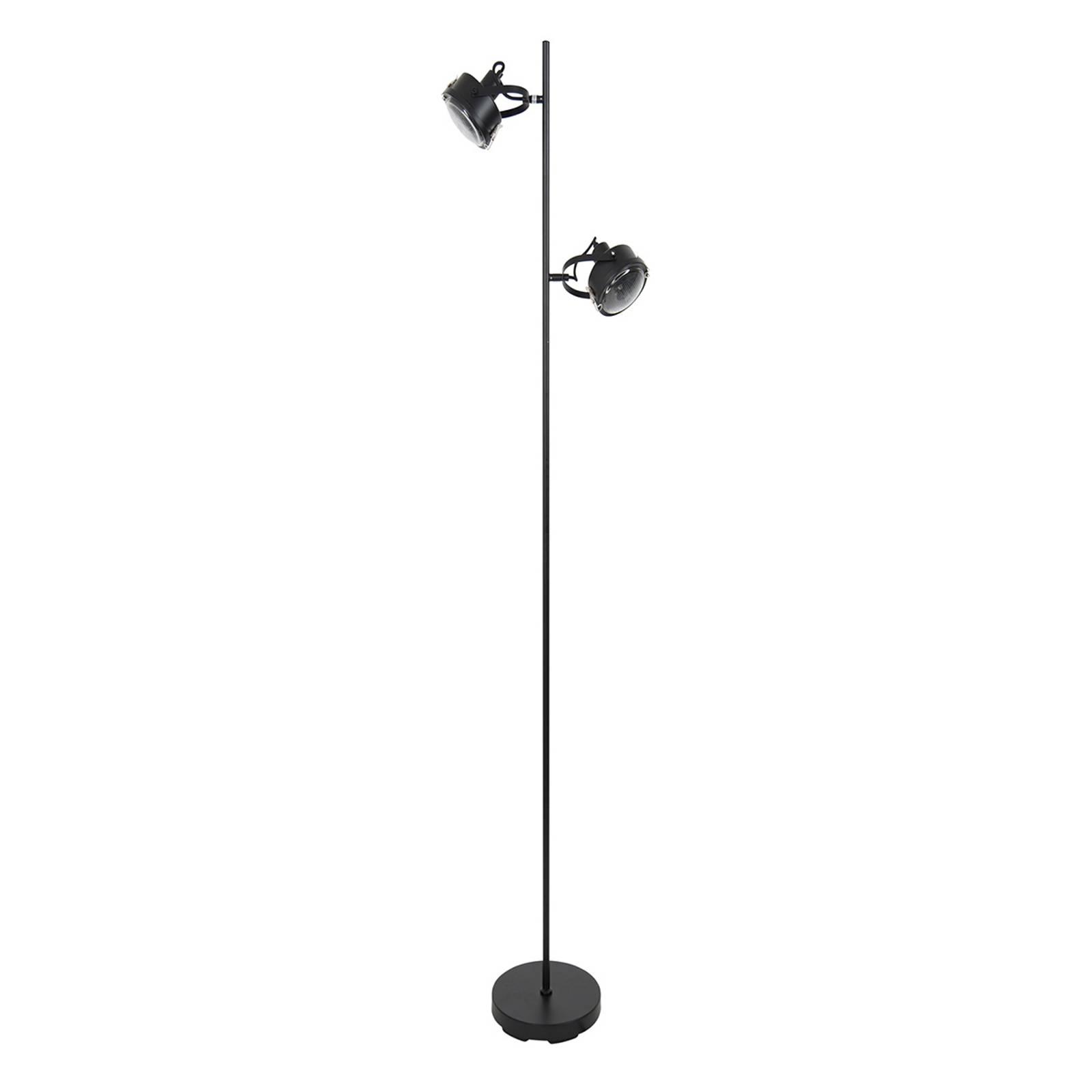 Kaksilamppuinen lattiavalaisin Satellite, musta