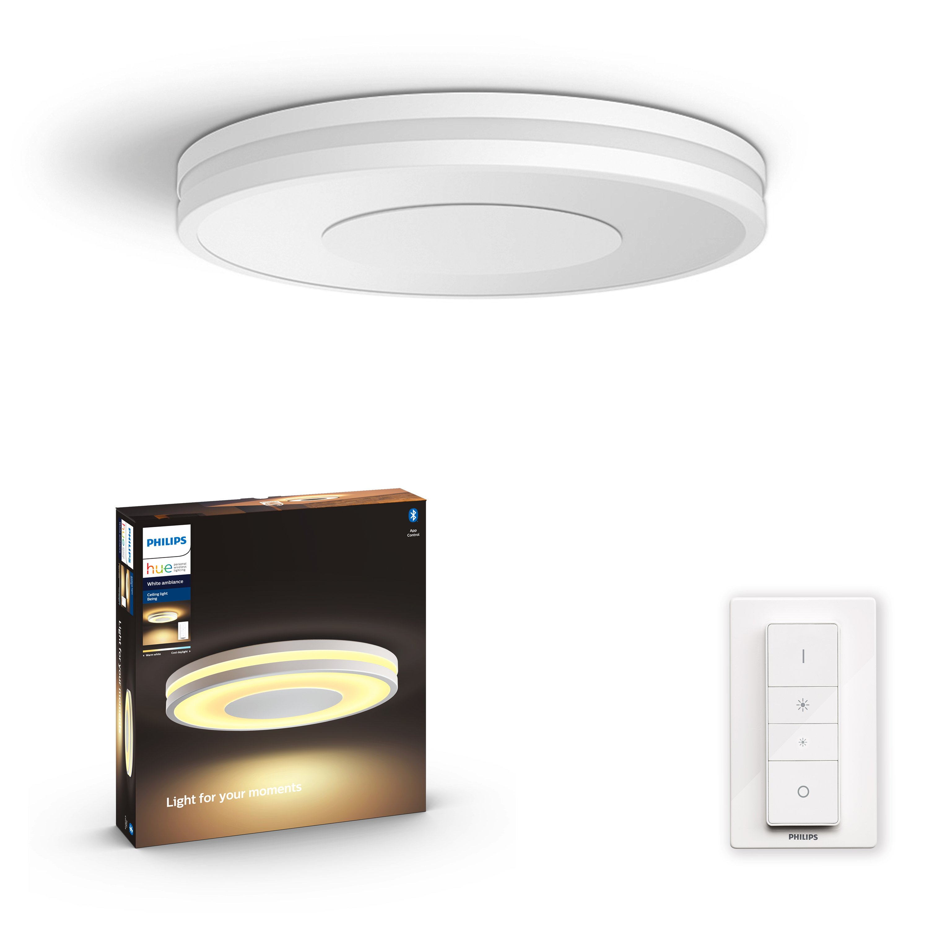Philips Hue - Connected Being Hue Ceiling Lamp White Ambiance - Bluetooth - White