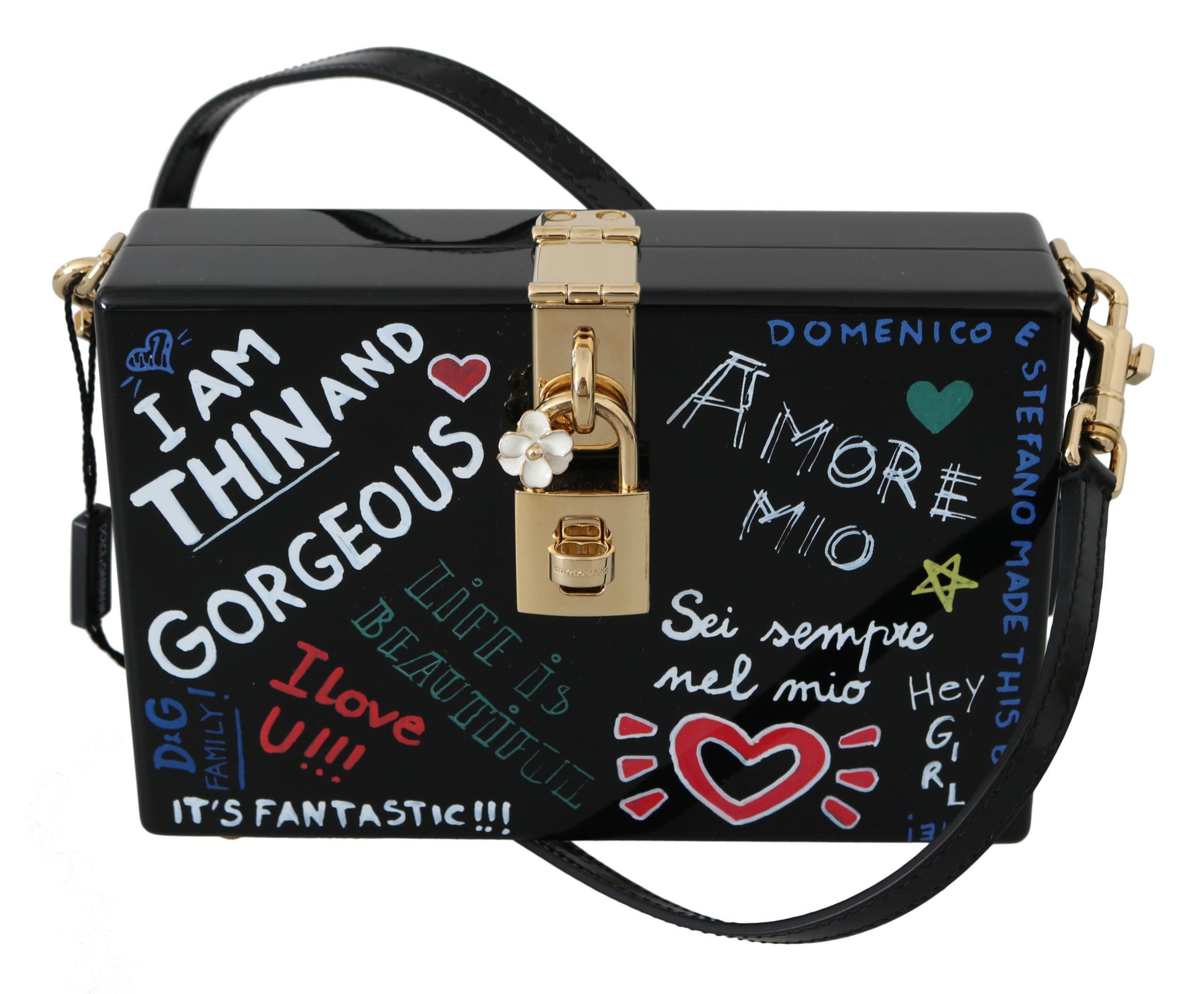 Dolce & Gabbana Women's Hand Painted Wooden Leather Shoulder Bag Black VAS8695