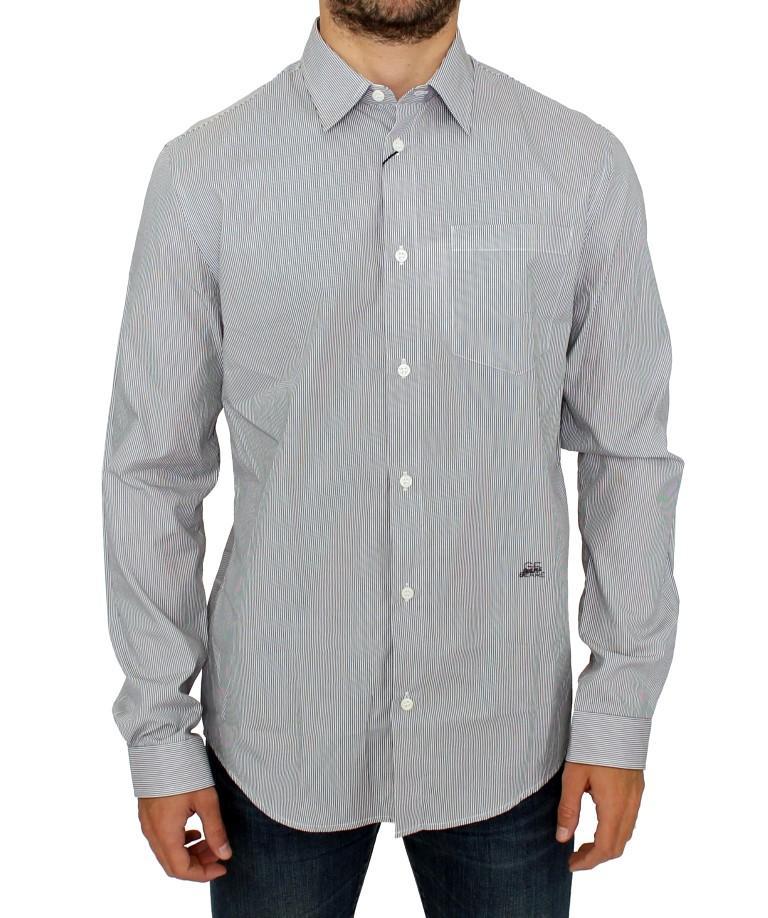 GF Ferre Men's Striped Cotton Casual Shirt Gray SIG10250 - IT52 | XL