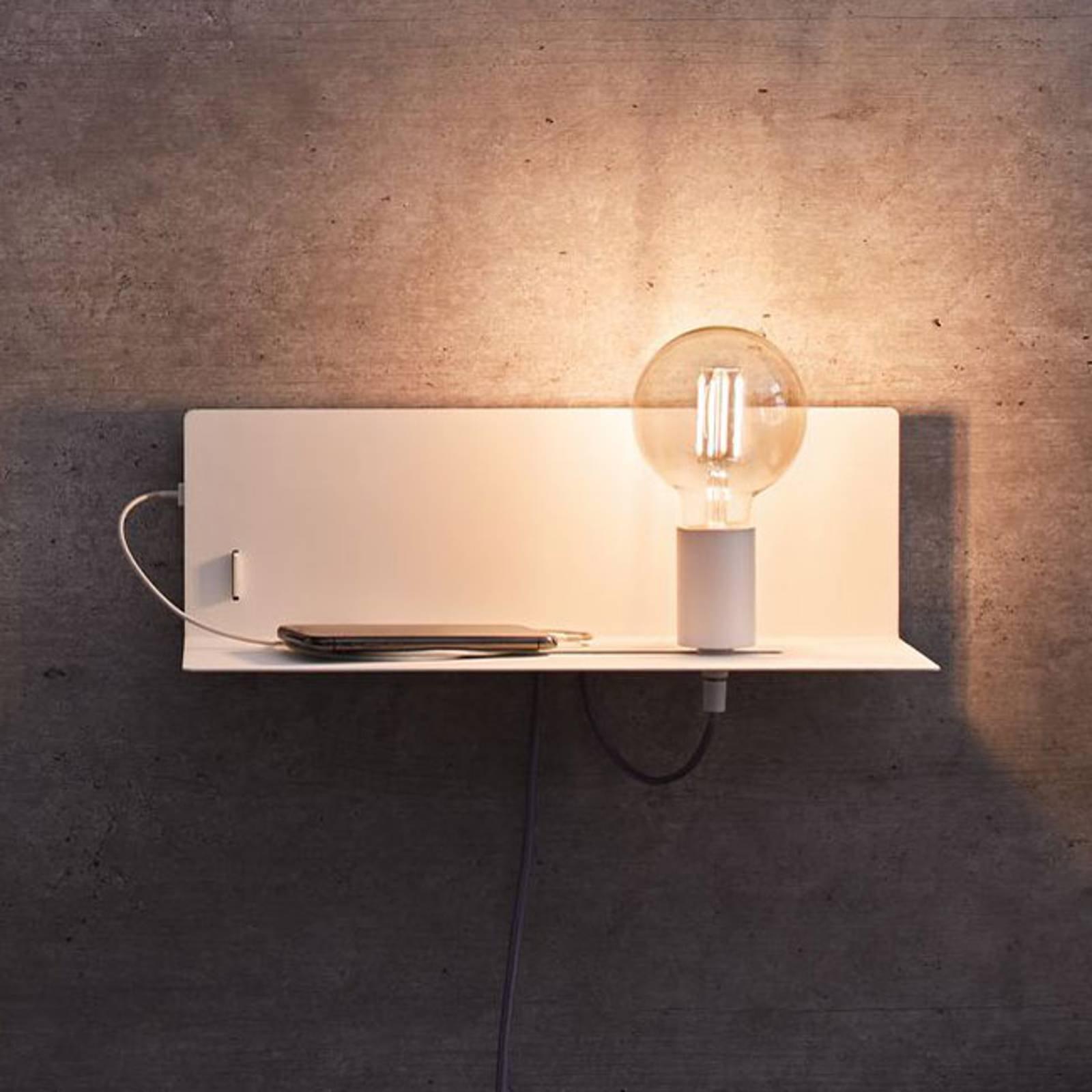 Paulmann Devara vegglampe med hylle, hvit