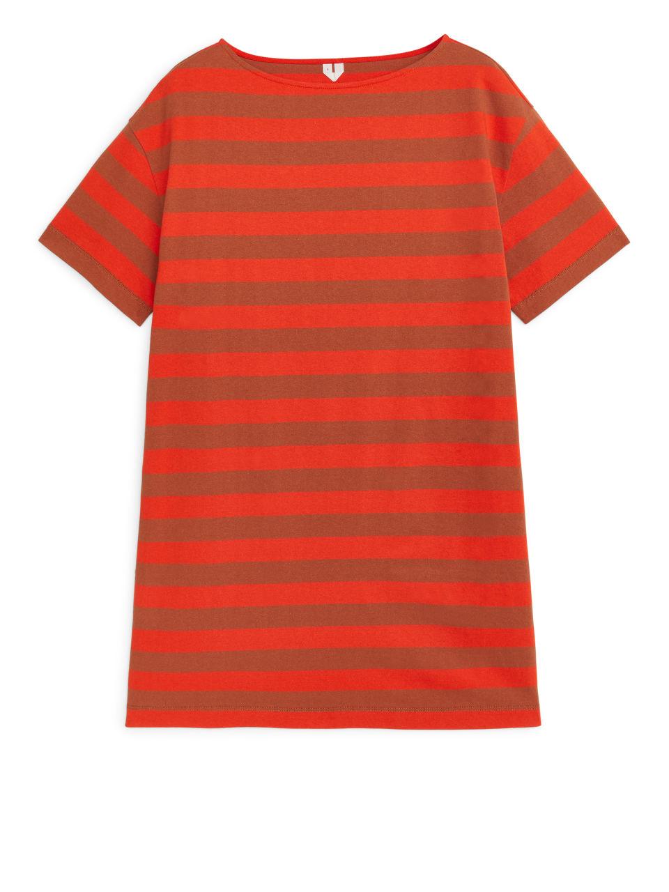 Striped Jersey Dress - Orange