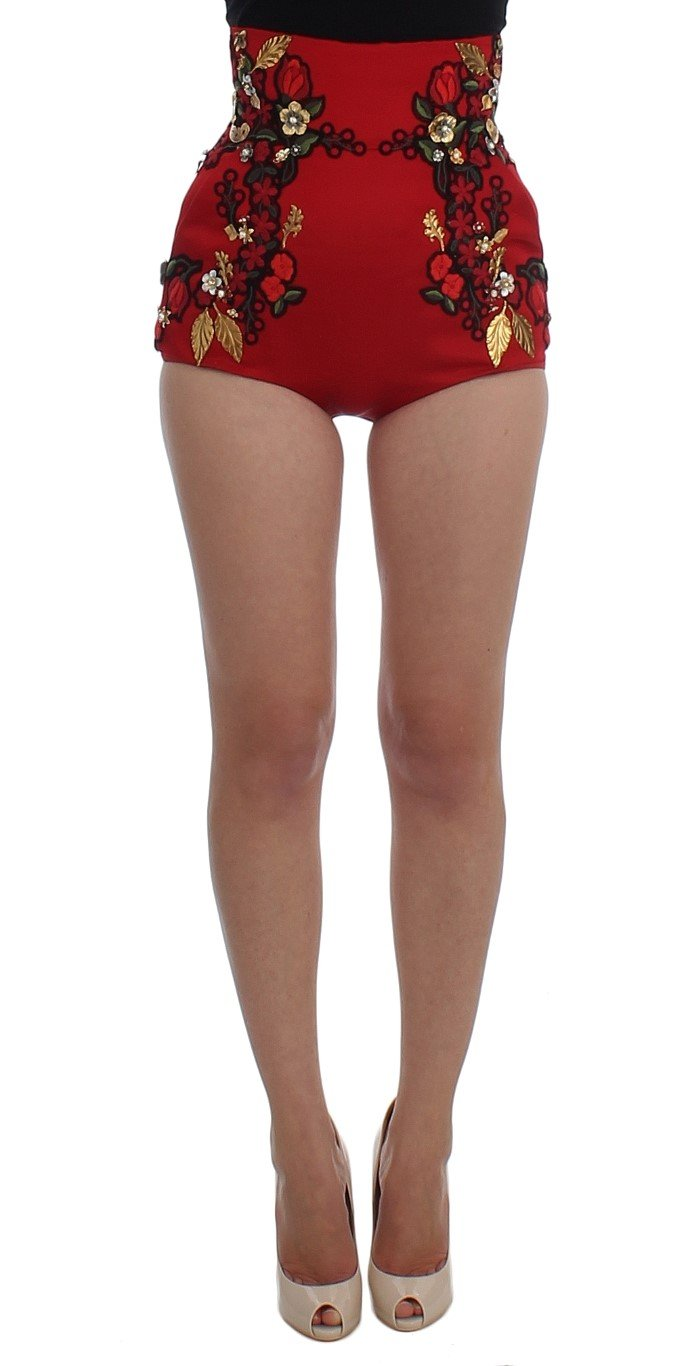 Dolce & Gabbana Women's Silk Roses Sicily Shorts Red SIG20124 - IT40|S