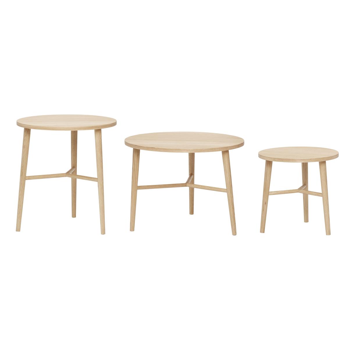 Småbord 3-set soffbord ljus ek, Hubsch