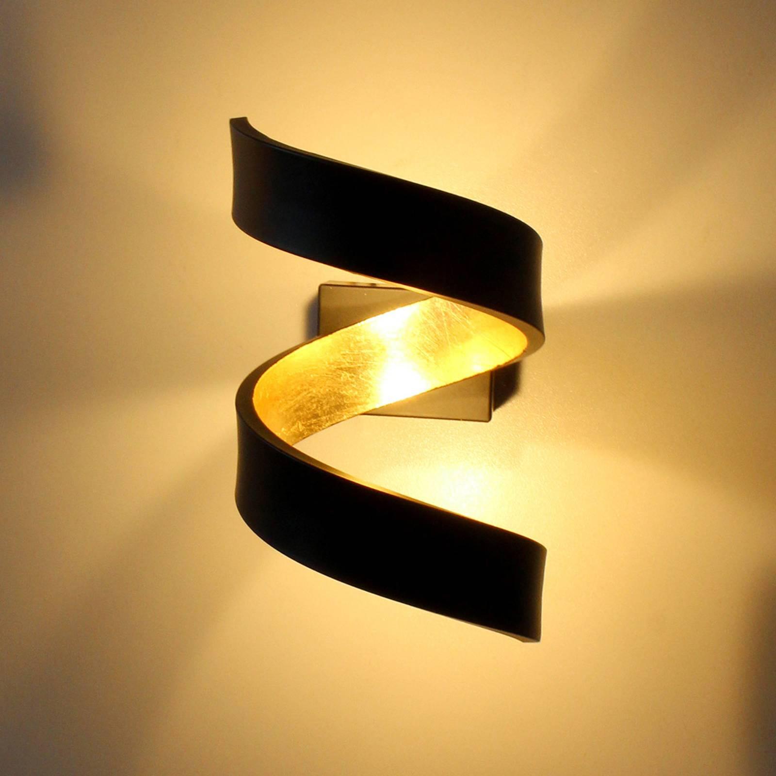 LED-seinävalaisin Helix, musta-kulta, 17 cm