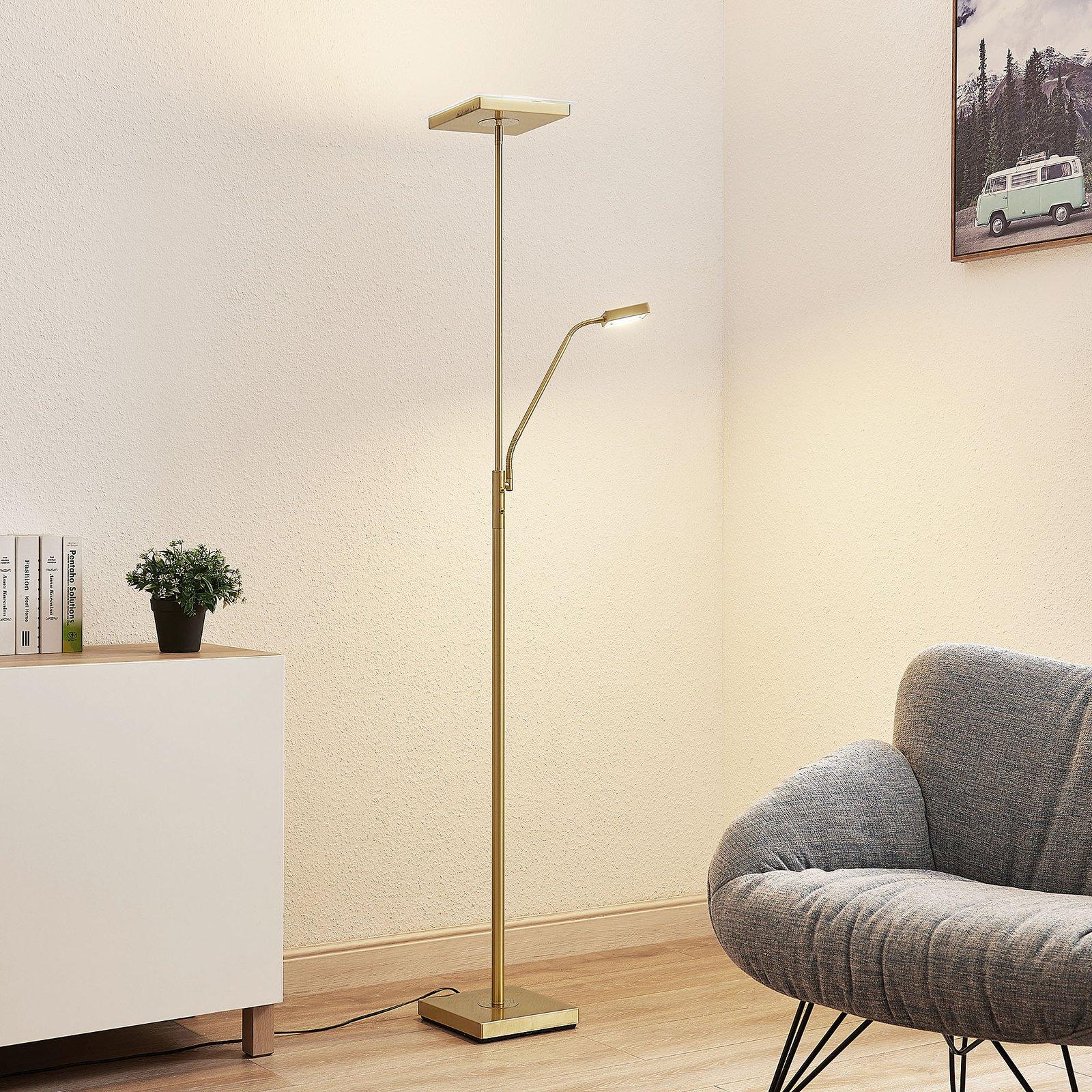 Lindby Sumani LED-gulvlampe, kantet, messing