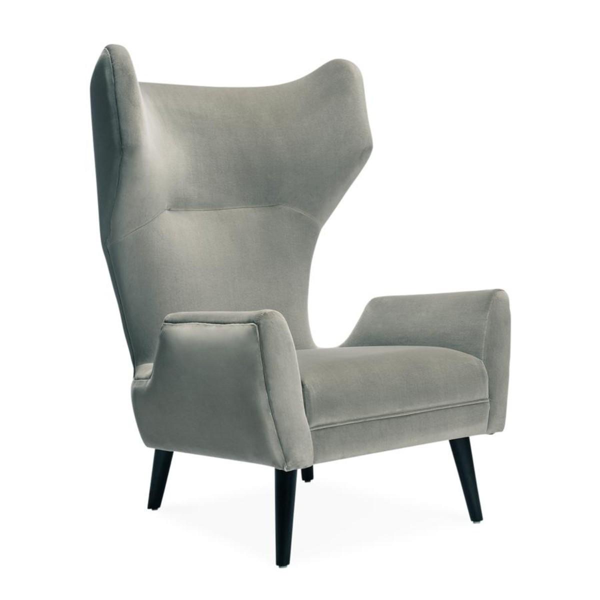 Jonathan Adler I Milano Wing Chair I Verona Smoke & Ebony