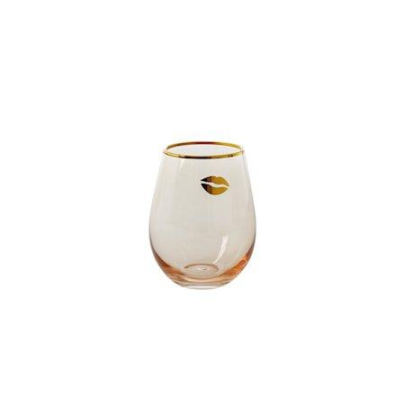 Drikkeglass H: 12.5 cm Rosa/Gull